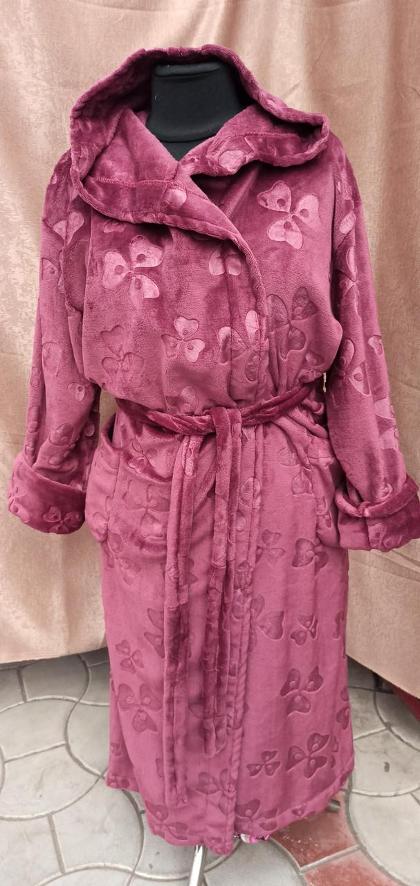 Махровый халат женский длинный капюшоном Марсала принт цветы Большого размера
