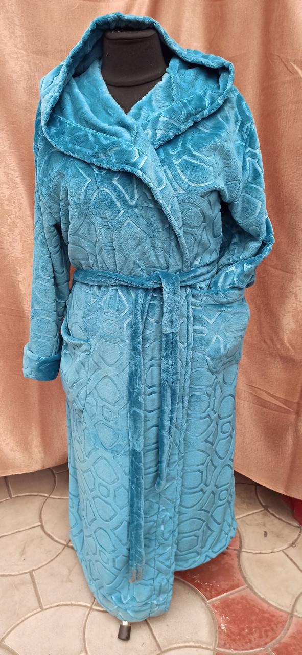 Махровый халат женский длинный капюшоном Изумруд принт цветы Большого размера