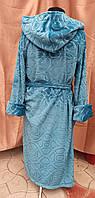 Махровый халат женский длинный капюшоном Изумруд принт цветы Большого размера, фото 2