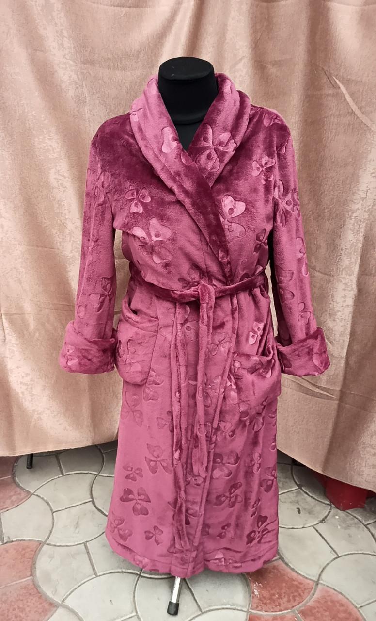 Махровый халат женский длинный Марсала принт цветы Большого размера