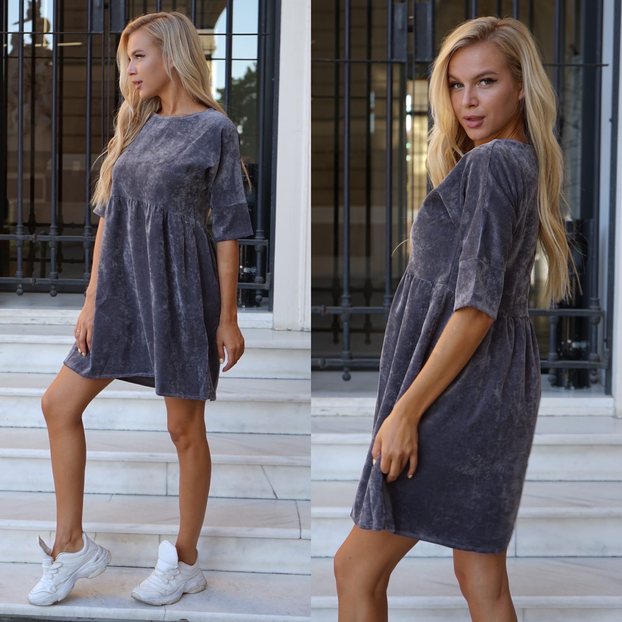 Сукня жіноча пудра, джинс, графіт, 42-44, 46-48