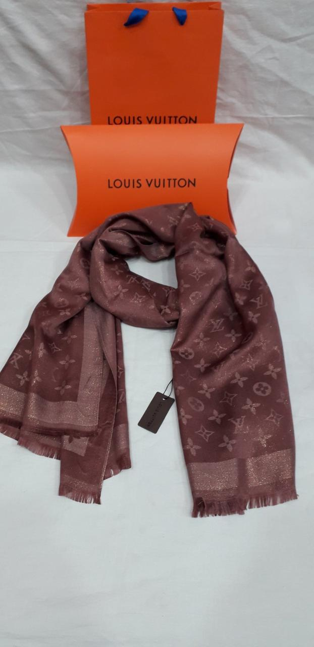 Палантин шарф женский брендовый Louis Vuitton Луи Виттон люрекс