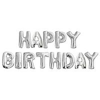 Фольгированная надпись 16' Китай Happy Birthday серебро в упаковке, 40 см