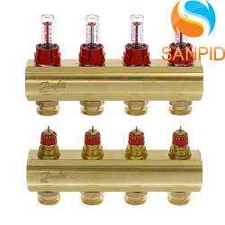 Колектор теплої підлоги Danfoss FHF-4F c ротаметрами 088U0524