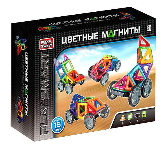 """Магнитный конструктор """"Play Smart"""" 2426 Цветные магниты, 16 деталей."""