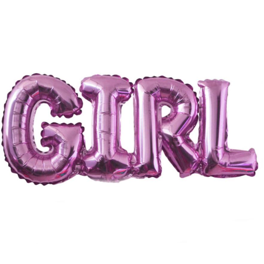 Фольгированная надпись 32' Китай Girl розовая, 80 см
