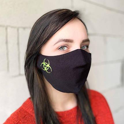 "Защитная маска для лица ""Quarantine"" черная, фото 2"