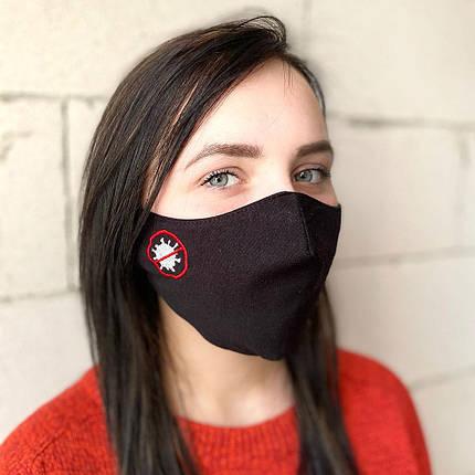 """Защитная маска для лица """"Stop"""" черная, фото 2"""