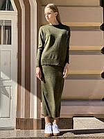 Плетений жіночий костюм з спідницею міді стильний oversize хакі