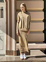 Плетений жіночий костюм з спідницею міді стильний oversize бежевий