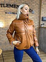 Модная качественная кожаная куртка на синтепоне женская, фото 1