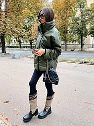 Жіноча демісезонна куртка утеплена з еко-шкіри (в кольорах)