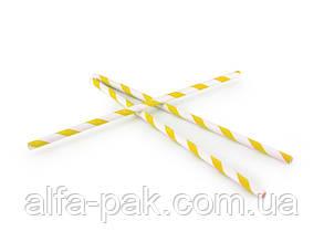 Соломка бумажная в полоску желтая