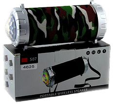 Портативная колонка S07 - мобильная bluetooth колонка cо светомузыкой, FM радио, MP3 плеер (Хаки), фото 3