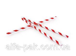 Соломка бумажная в полоску красная