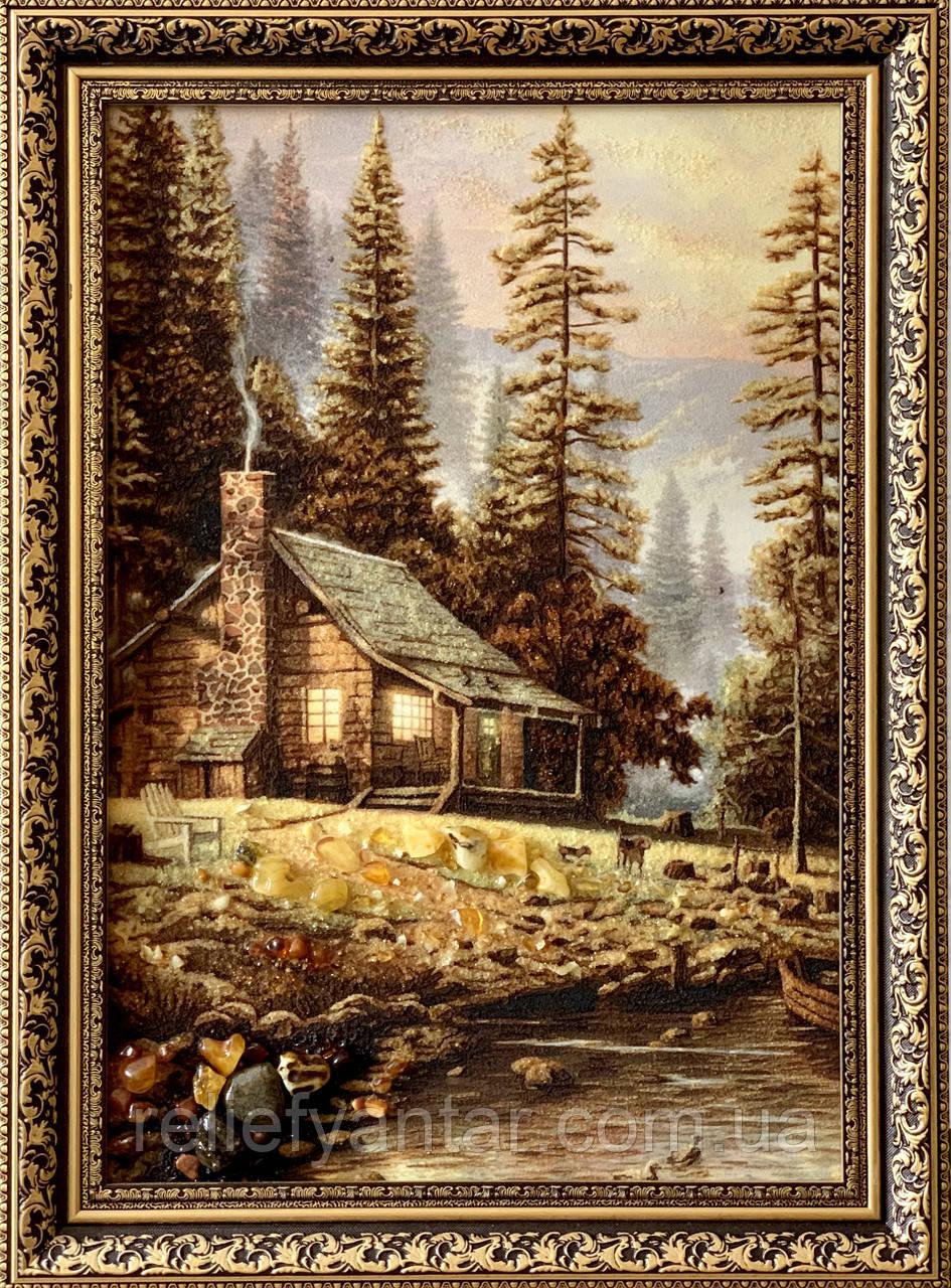 """Картина пейзаж из янтаря """" Уютный домик в лесу   """" 40x60 см"""