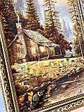 """Картина пейзаж из янтаря """" Уютный домик в лесу   """" 40x60 см, фото 3"""