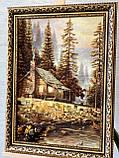 """Картина пейзаж из янтаря """" Уютный домик в лесу   """" 40x60 см, фото 2"""