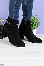Женские ботинки ДЕМИ / осенние с декором на каблуке 7,5 см черные эко замш