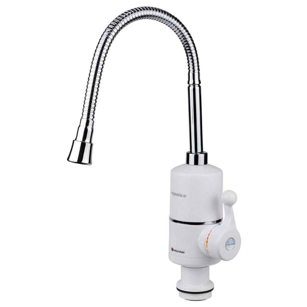 Кран-водонагреватель проточный NZ 3.0кВт 0,4-5бар для кухни гусак гофрированный на гайке AQUATICA (NZ-6B312W)