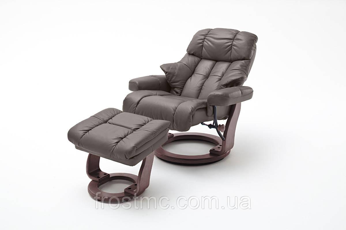 Крісло Relax Calgar XXL Chair Brown для відпочинку з підставкою під ноги шкіряне основа Горіх