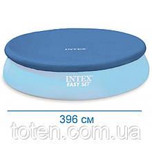 Тент чехол для бассейна диаметр 396 см защитный для круглого наливного intex 28026