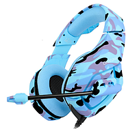 Игровые наушники ONIKUMA K1-B с микрофоном, синий камуфляж