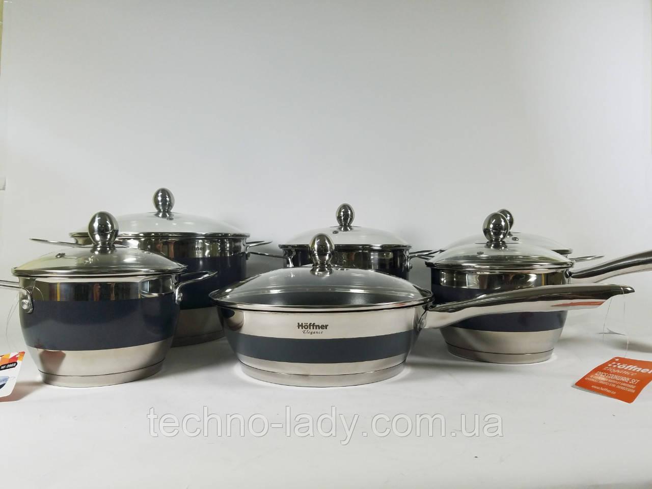 Набор кухонной посуды Hoffner 9969-(Silver) 12 элементов кастрюли, сковорода, сотейник