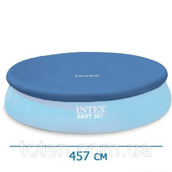 Тент чехол для бассейна диаметр 457 см защитный для круглого наливного intex 28023