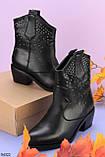 Жіночі осінні ДЕМІ черевики чорні з ремінцем на підборах 4 см еко-шкіра, фото 2