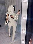 Женский трикотажный хлопковый костюм футер петля: худи с капюшоном и брюки с молниями (в расцветках), фото 2