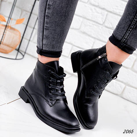 Черевики жіночі чорні, туфлі з НАТУРАЛЬНОЇ ШКІРИ. Черевики жіночі чорні з натуральної шкіри утеплені, фото 2