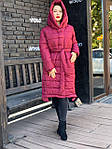 Стильный пуховик-пальто вишневого цвета M032