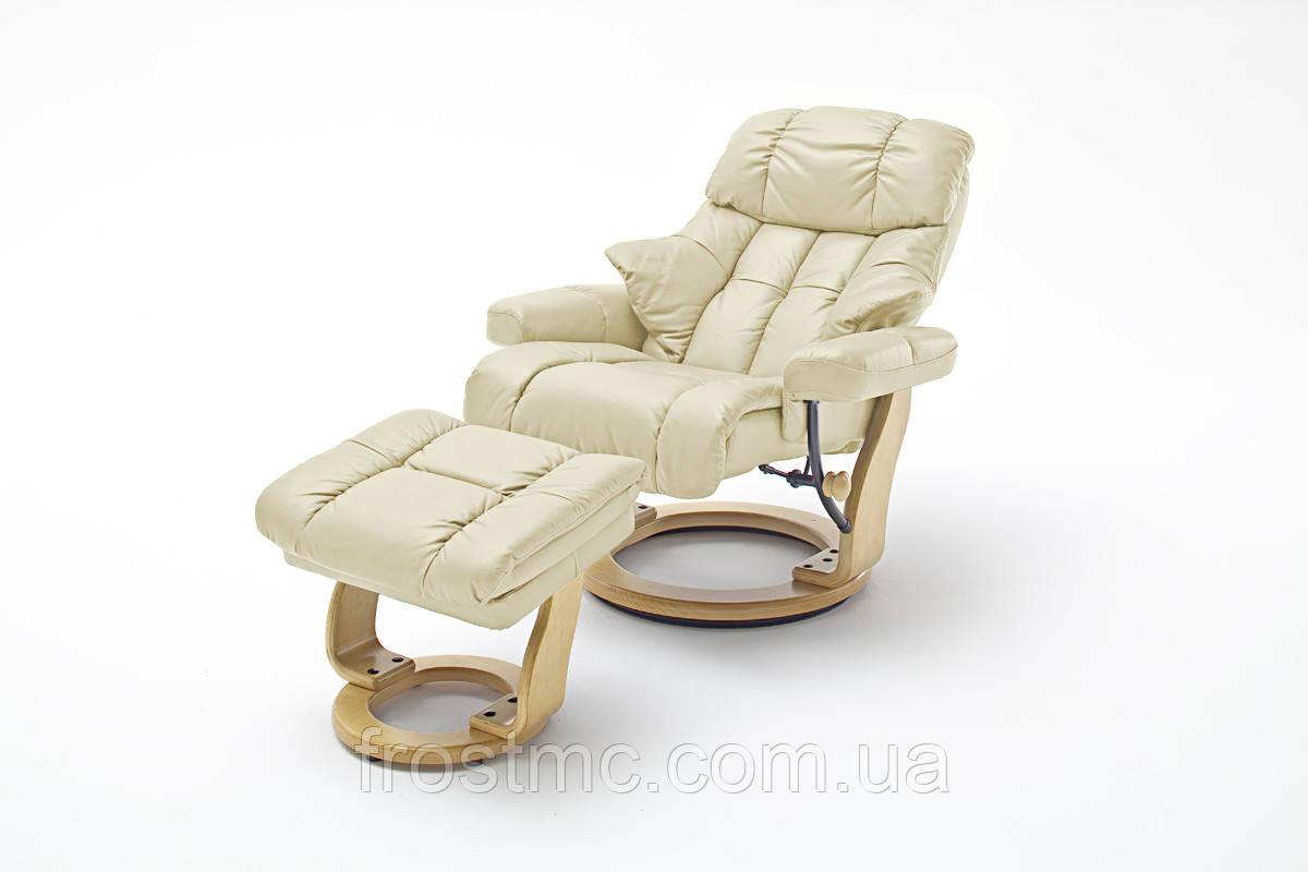 Крісло Relax  Calgar XXL Chair Creame для відпочинку з підставкою під ноги шкіряне основа Натуральна
