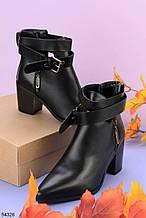 Женские осенние ДЕМИ ботинки черные на каблуке 6,5 см эко-кожа