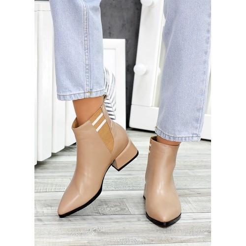 Ботинки челси козаки бежевые натуральная кожа