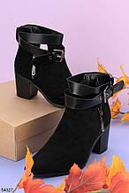 Женские ботинки ДЕМИ / осенние с ремешком на каблуке 6,5 см черные эко замш
