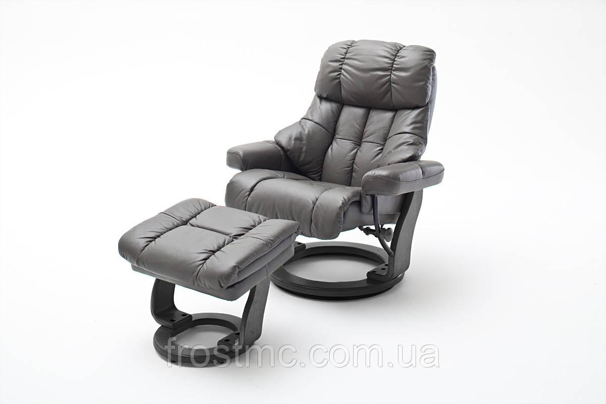 Крісло Relax Calgar XXL Chair Muddy для відпочинку з підставкою під ноги шкіряне Чорна основа