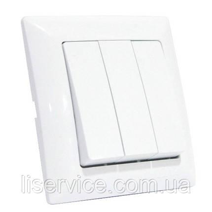 Выключатель 3-клавишный белый TINA, фото 2