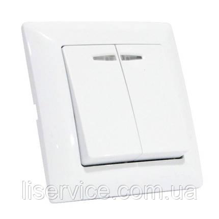 Выключатель 2-клавишный с подсветкой белый TINA, фото 2
