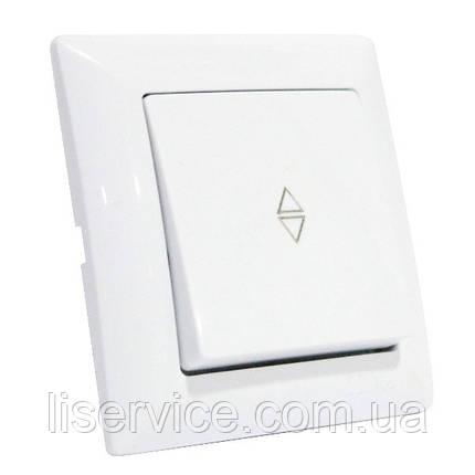 Выключатель проходной 1-клавишный белый TINA, фото 2