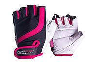 Рукавички для фітнесу PowerPlay 2311 жіночі Чорно-Розові M, фото 1