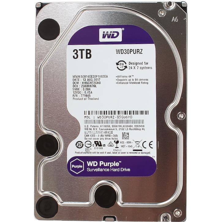 Жесткий диск HDD 3TB Western Digital Purple 5400 SATA III 64Mb (WD30PURZ)