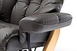 Крісло Relax  Calgar XXL Chair Muddy для відпочинку з підставкою під ноги шкіряне основа Натуральна, фото 10