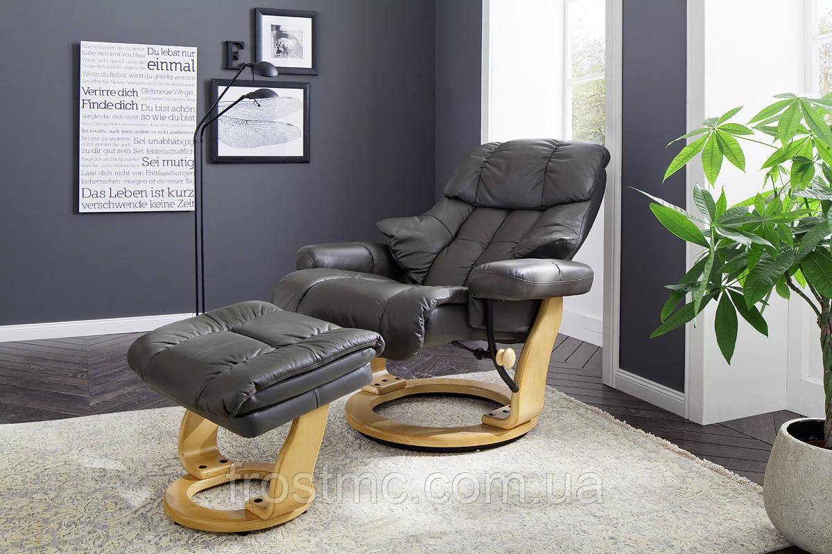 Крісло Relax  Calgar XXL Chair Muddy для відпочинку з підставкою під ноги шкіряне основа Натуральна