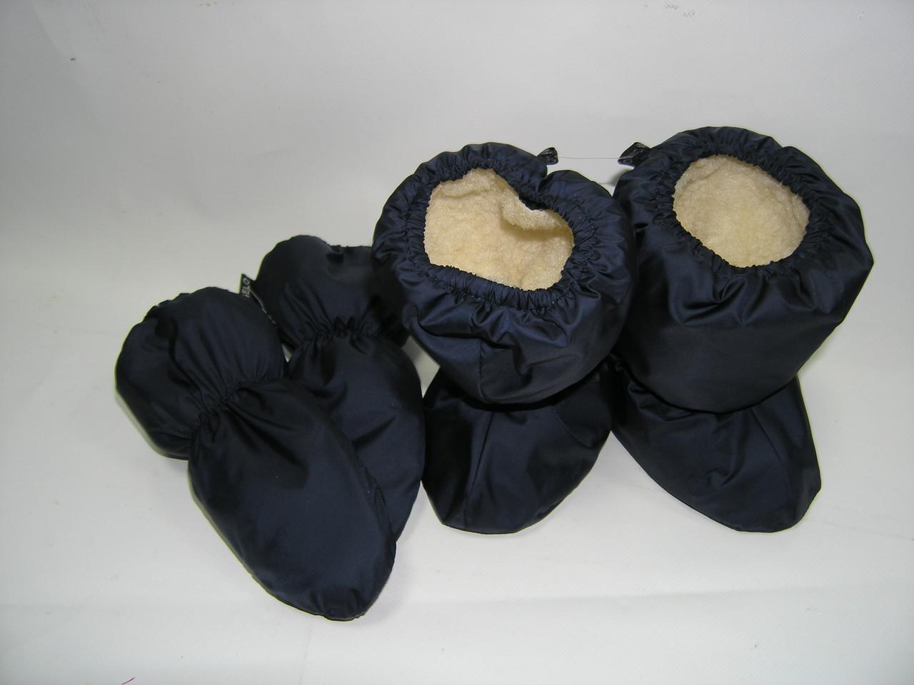 Набор сапожки и варежки на меху темно - синий