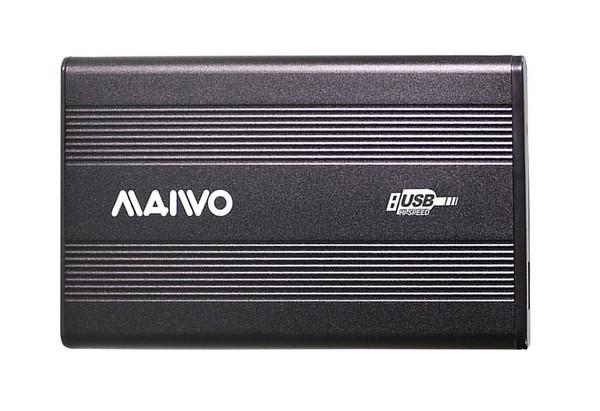 """Карман Maiwo внешний для HDD 2,5"""" SATA через USB2.0 на винтах алюм. черн. (K2501A-U2S black)"""