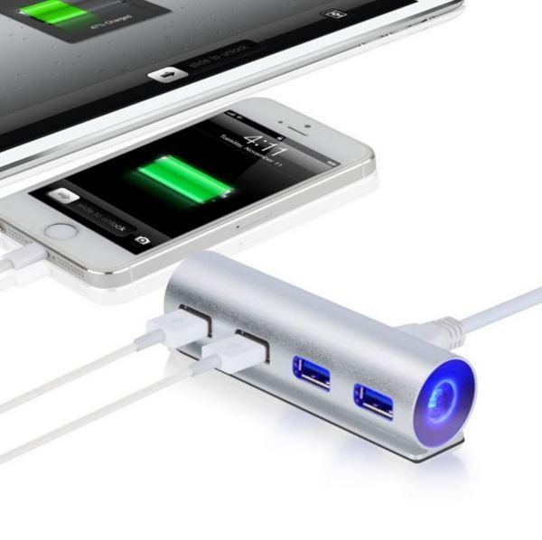 Хаб USB Maiwo 4 порта USB 3.0 с голубой подсветкой алюминий серебристый (KH002)