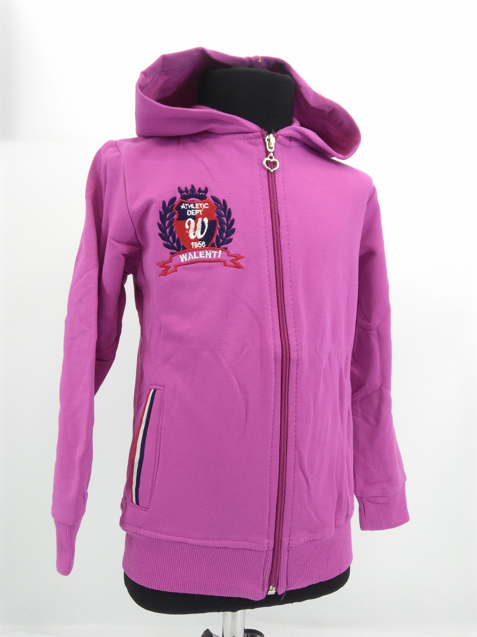 Кофта на замку с капюшоном (розовая)