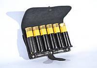 Кожаный подсумок на ремень на 6 патронов 20 калибра, черный